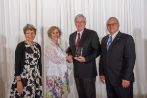 (from left to right) Mary Logan, President AAMI; Marilyn Flack, Exec Director, AAMI Foundation; John Sokolowski, VP of Regulatory & Quality Assurance, Ivenix; Phil Cogdill, Chair, AAMI Foundation Board of Directors