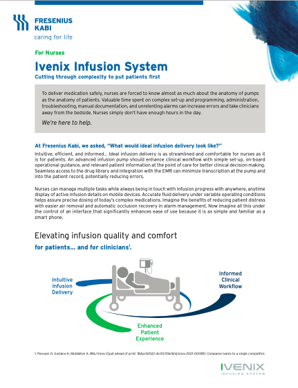 Ivenix Infusion System for Nurses Product Brief
