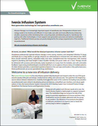 Ivenix Infusion System for Anesthesiologists